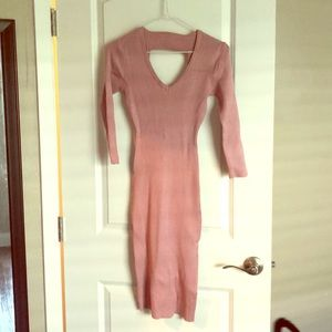 Rose gold knit dress